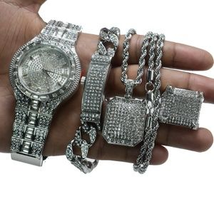 Fully Iced Out Watch, Bracelet, Necklace and Ring